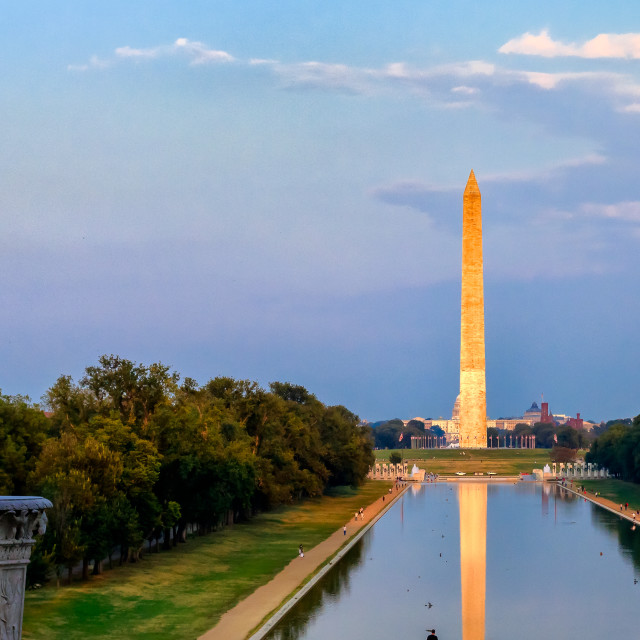 """Washington Memorial over Reflecting Pond"" stock image"