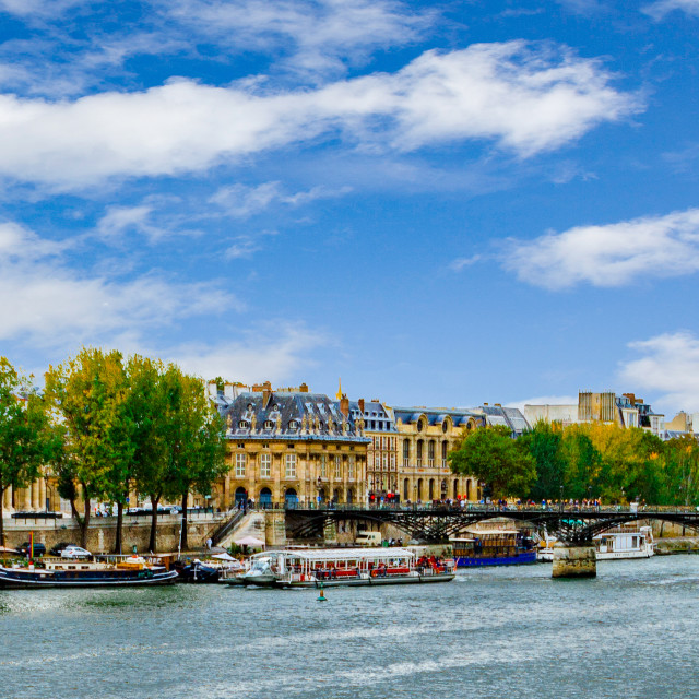 """Bibliothèque Mazarine and the Pont des Arts"" stock image"