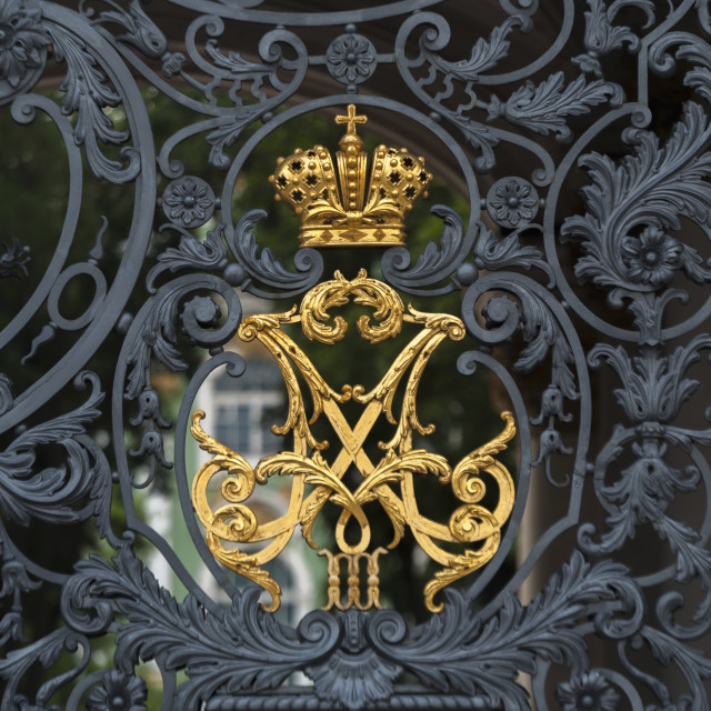 """Gold Crown And Black Metal Design On The Gate To Winter Palace; St...."" stock image"
