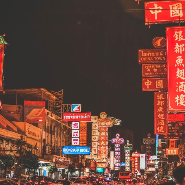 """""""Chinatown at night"""" stock image"""