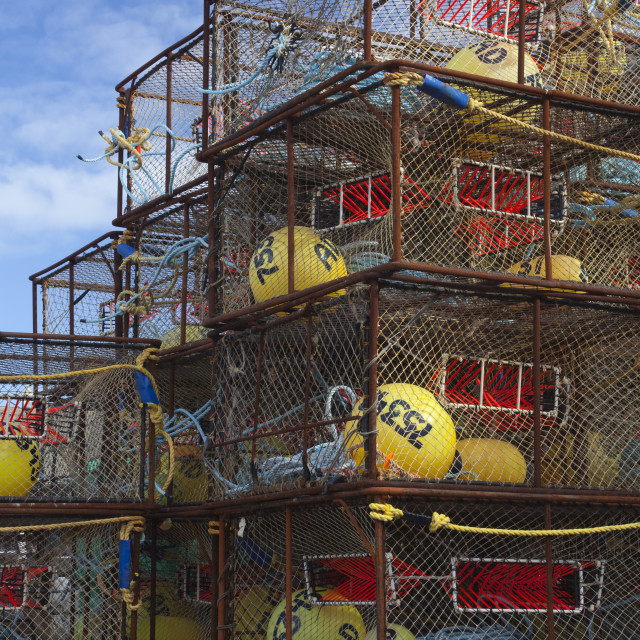 """""""Stack Of Crab Pots Rigged With Orange Triggers For Pacific Cod Fishery And..."""" stock image"""