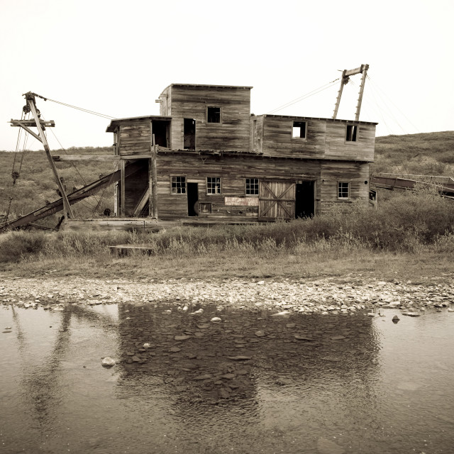 """Historic Mining Dredge West Of Nome On Teller Road, Seward Peninsula, Arctic..."" stock image"