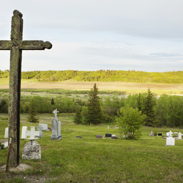 """""""Old graveyard with large cross;Manitoba canada"""" stock image"""