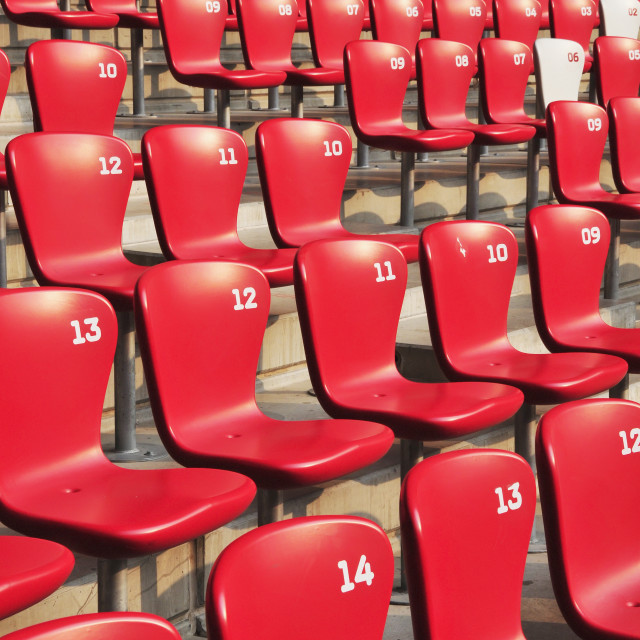"""Red seating in rows with numbering;Beijing china"" stock image"