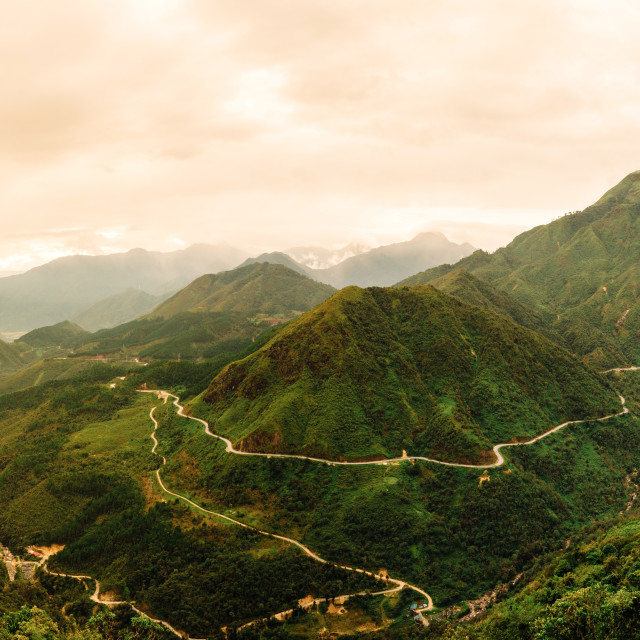 """Panorama of Vietnam's longest mountain pass"" stock image"