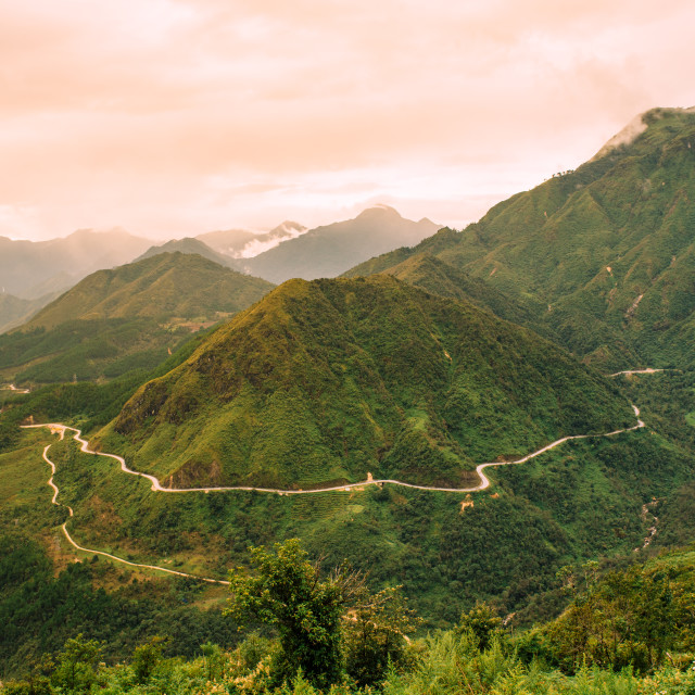 """Vietnam's longest mountain pass"" stock image"