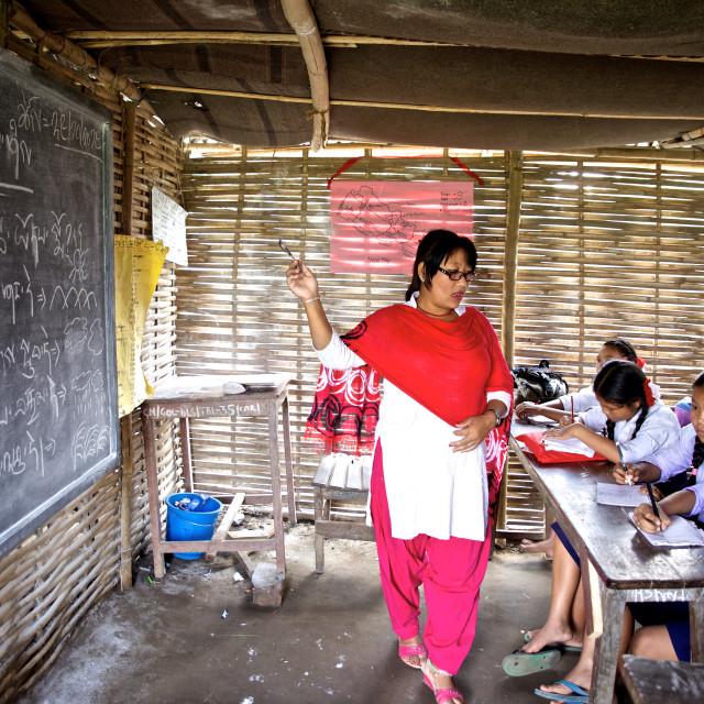 """- Beldangi II, Damak, Nepal, 2014: Morning assembly at the school in the..."" stock image"