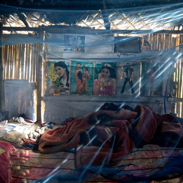 """""""- Beldangi II, Damak, An empty room of a family that has resettled in a third..."""" stock image"""