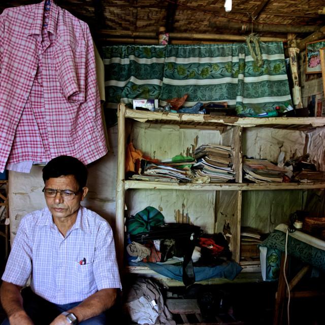 """- Beldangi II, Damak, Nepal, 2014: Dhanman Khadka of age 61 years, lives..."" stock image"