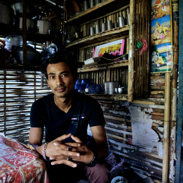 """Beldangi II, Damak, Nepal, 2014: Bhim Bahadur of age 26 years, has already..."" stock image"