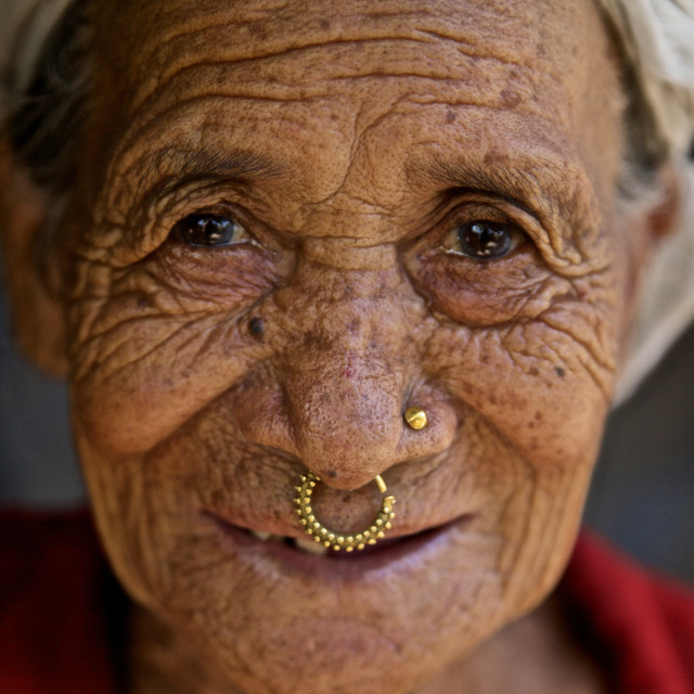 """- Beldangi II, Damak, Nepal, 2014: Tikamaya Magar, (unaware of her age) lives..."" stock image"