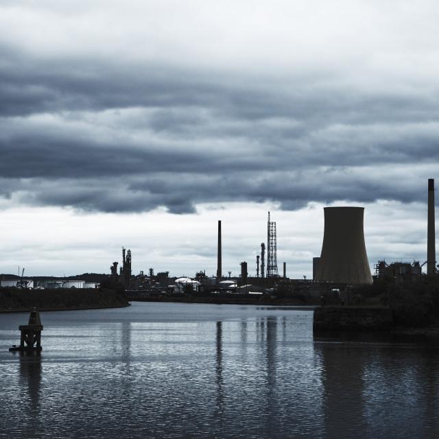 """Oil refinery at Ellesmere Port, Merseyside"" stock image"