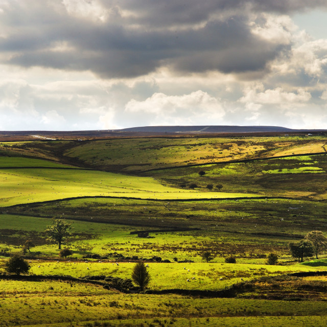 """Light and shadow near Waskerley, County Durham"" stock image"