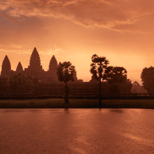 """Rainy Angkor Wat sunrise"" stock image"