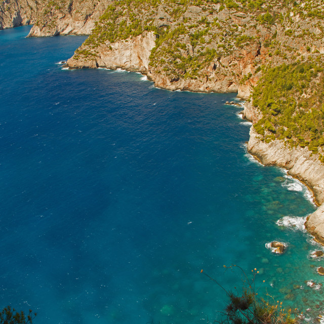 """Aerial landscape of mediterranean sea and piece of Zakhyntos Isl"" stock image"