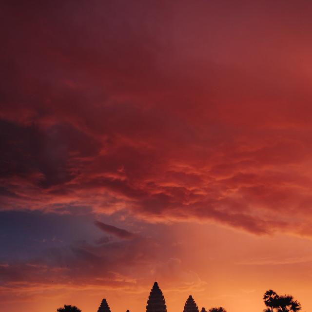 """Textured Angkor Sunrise"" stock image"