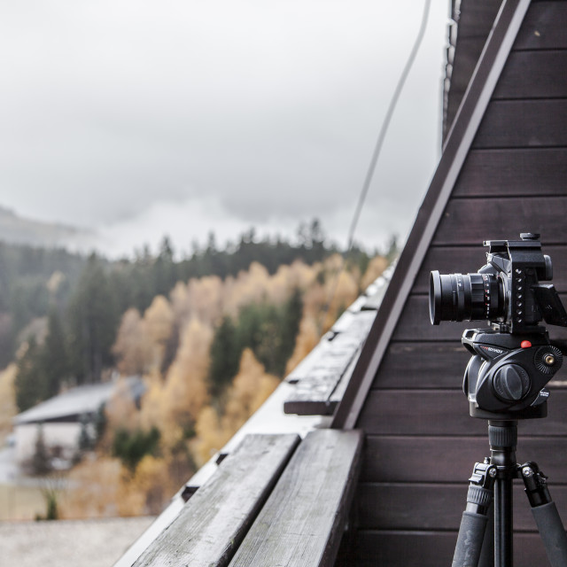 """""""Filming in Ski Spindleruv Mlyn"""" stock image"""
