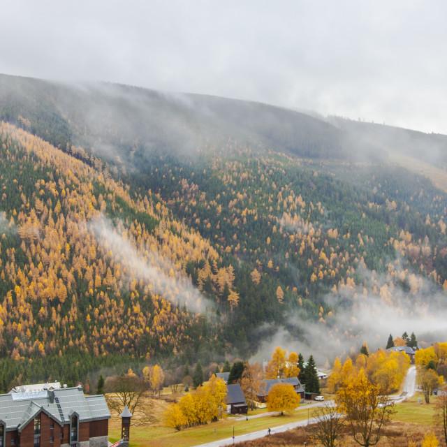 """Rolling mist in Ski Spindleruv Mlyn"" stock image"