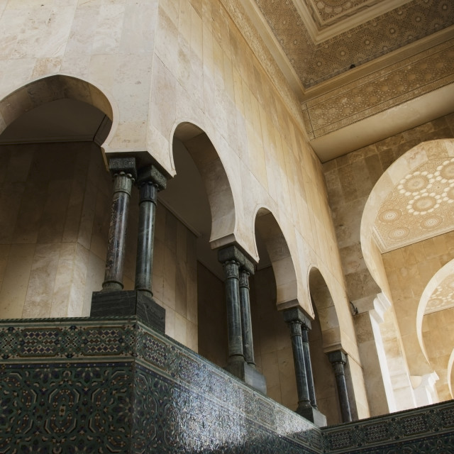 """Ornate facade on walls with arches and pillars in hassan ii mosque;Casablanca..."" stock image"