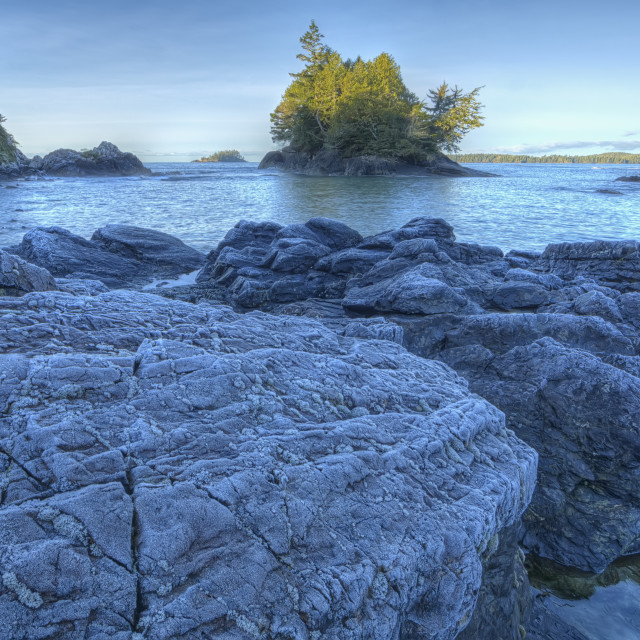 """Frost covered rocks along mackenzie beach;Tofino, british columbia, canada"" stock image"