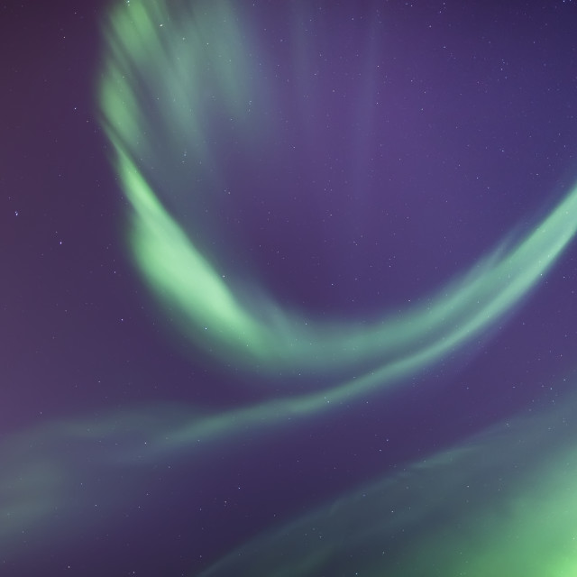 """""""A green northern lights corona in the sky above the tony knowles coastal..."""" stock image"""