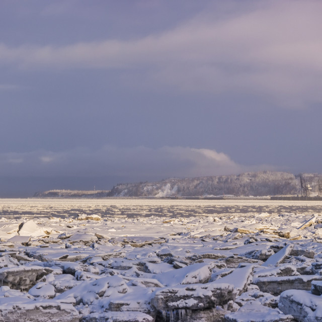 """""""Panorama Photo Of The Downtown Anchorage Skyline As Seen From The Tony..."""" stock image"""