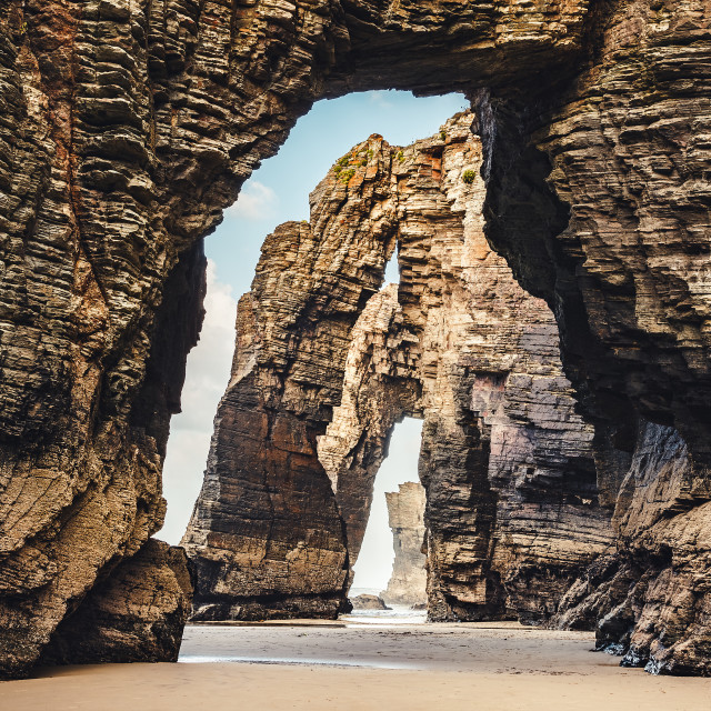 """As Catedrais beach Arches Galicia Spain"" stock image"