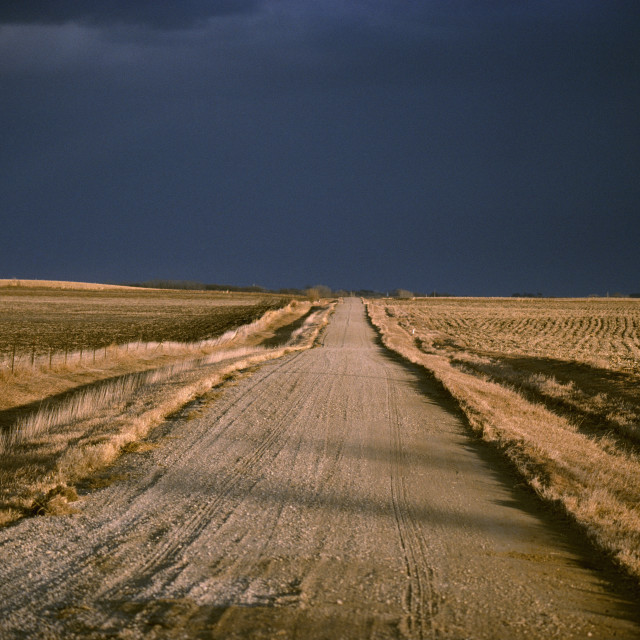 """""""Agriculture - Gravel Country Road Passing Through Harvested Farm Fields In..."""" stock image"""