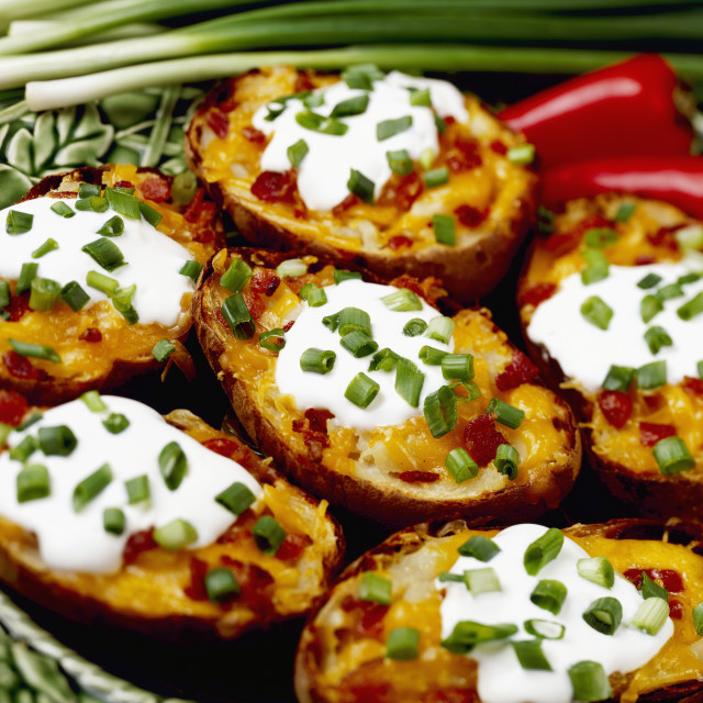 """""""Food - Twice-baked Potatoes with Bacon, garnished with chopped green onions..."""" stock image"""