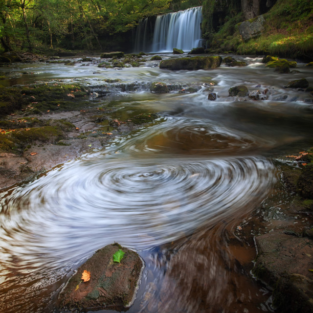 """Sgwd Ddwli Uchaf waterfalls South Wales"" stock image"