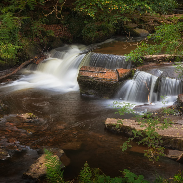 """Taf Fechan Forest waterfall"" stock image"