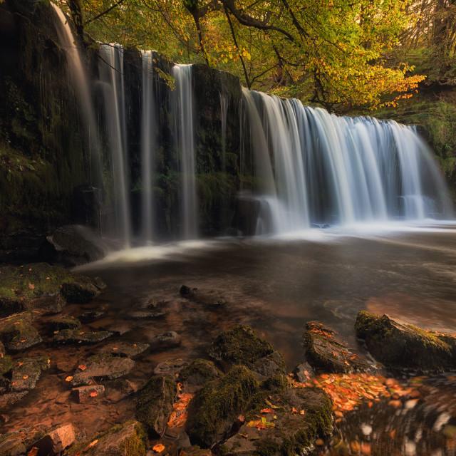 """Sgwd Ddwli Uchaf waterfall country"" stock image"