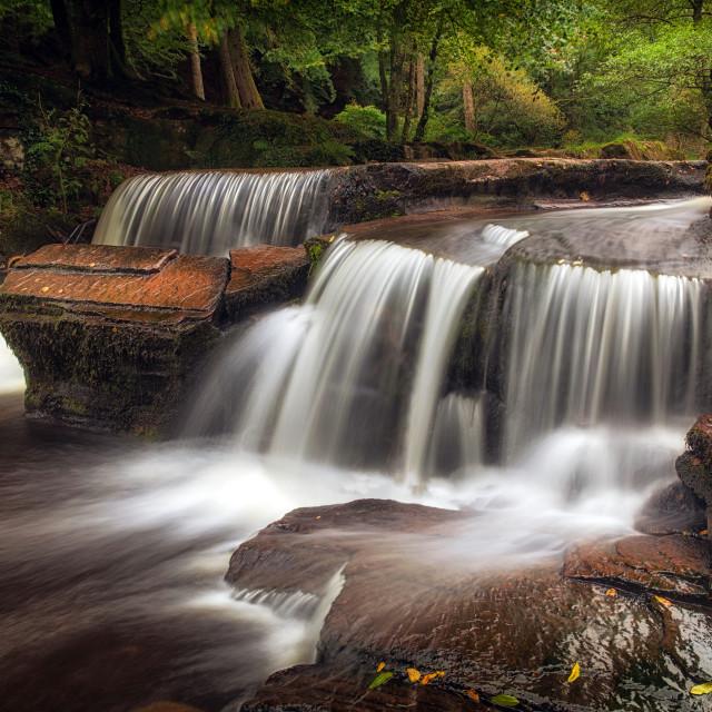 """Pont Cwmyfedwen waterfall"" stock image"