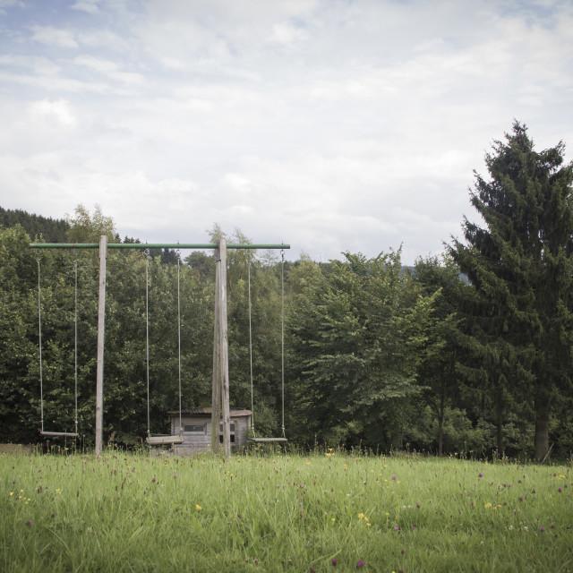"""""""Deserted swings"""" stock image"""