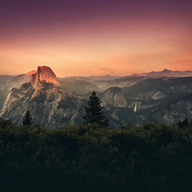 """Sunset over Half Dome, Yosemite."" stock image"