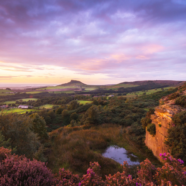 """Sunset over Roseberry Topping in North Yorkshire"" stock image"