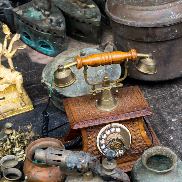 """Ipoh, Malaysia - September 17, 2017: Antique phone and other materials sold at at Pasar Karat of also known as Flea and Antique market in Ipoh, capital city of Perak."" stock image"