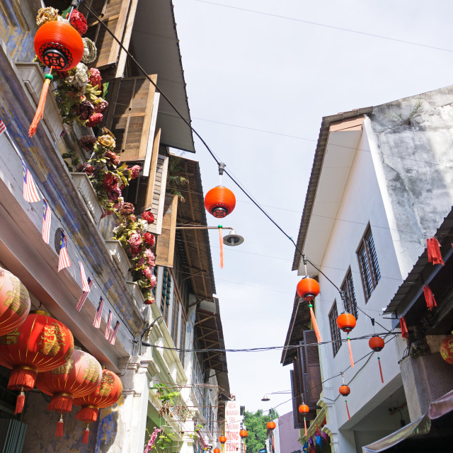 """""""Red Chinese Lanterns at Concubine Lane in Ipoh, Perak. Concubine Lane is one of tourist attraction in Ipoh, capital city of Perak State."""" stock image"""