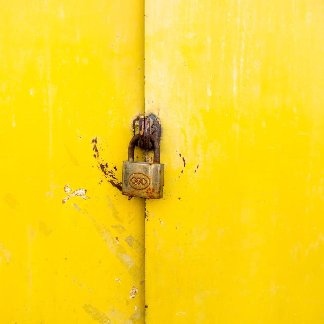 """""""Yellow color rustic metal door background"""" stock image"""