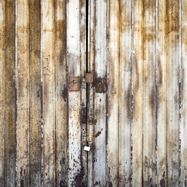 """""""Old fashion and rustic metal door shop with padlock"""" stock image"""
