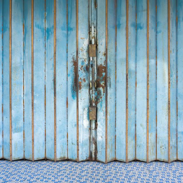 """Old slide folding classic Asian metal door background"" stock image"