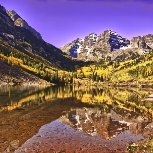 """Sunrise on the Amazing Maroon Bells In Autumn"" stock image"