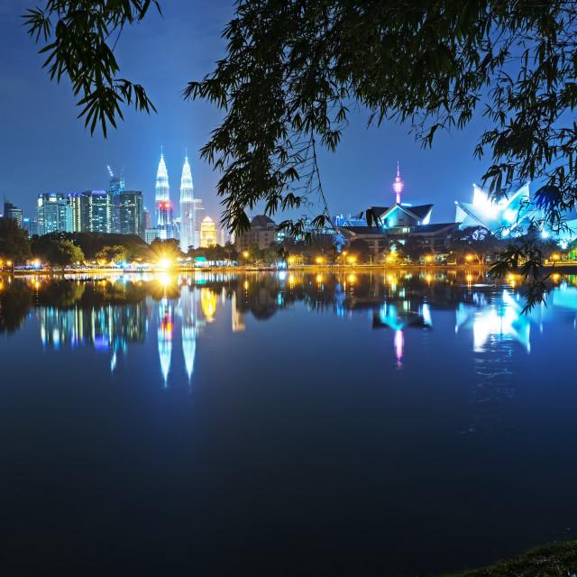 """Night view of Kuala Lumpur skyline, capital city of Malaysia as seen from Taman Tasik Titiwangsa."" stock image"