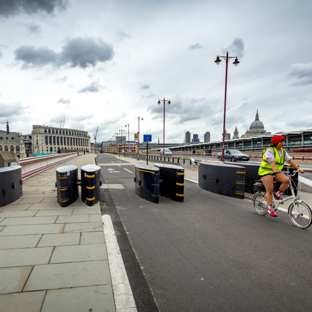 """Security barriers set up on Blackfriars bridge"" stock image"