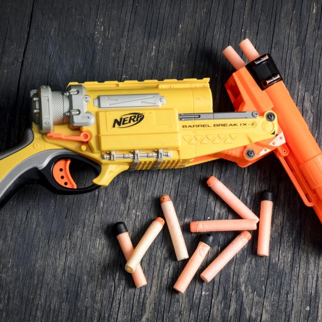"""Nerf Dart Gun and Foam Bullets"" stock image"