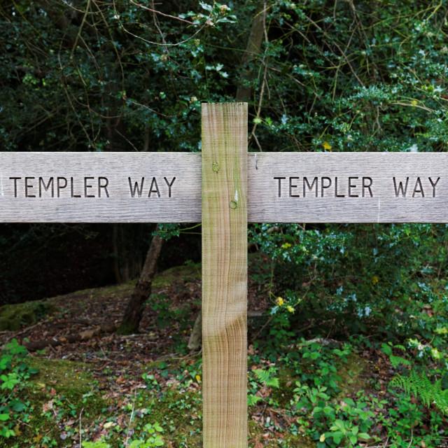 """""""Templer Way Wooden Sign Post, Dartmoor, England"""" stock image"""