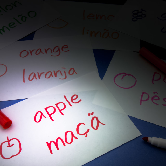 """Making Language Flash Cards; Portuguese"" stock image"