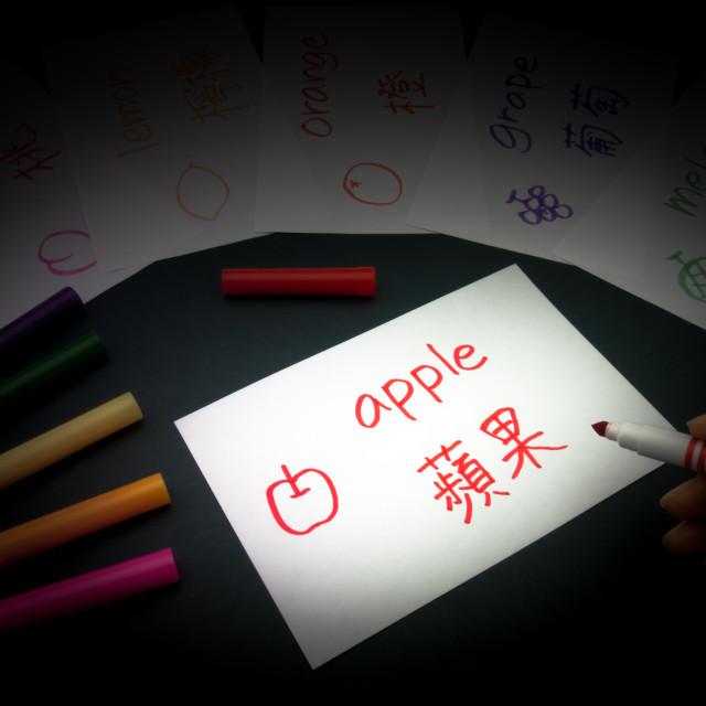 """""""Making Language Flash Cards; Mandarin"""" stock image"""