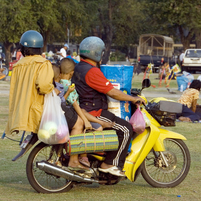 """Thai family on motor bike. Thailand, January 16, 2007."" stock image"