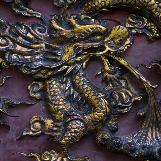 """Engraved Dragon detail on brass. Thailand, January 18, 2007."" stock image"